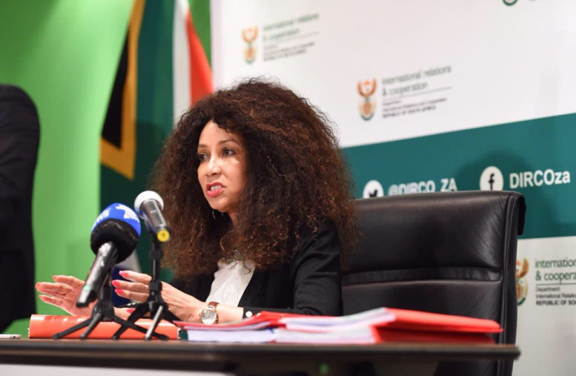 SOUTH AFRICA'S International Relations Minister Lindiwe Sisulu speaks during a press conference last week (photo credit: LINDIWE SISULUL/ TWITTER)