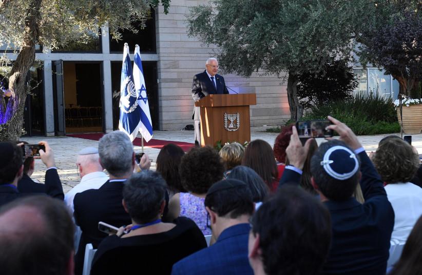 PRESIDENT REUVEN RIVLIN addresses principals of Jewish schools in the Diaspora at the President's Residence on Sunday (photo credit: HAIM ZACH/GPO)