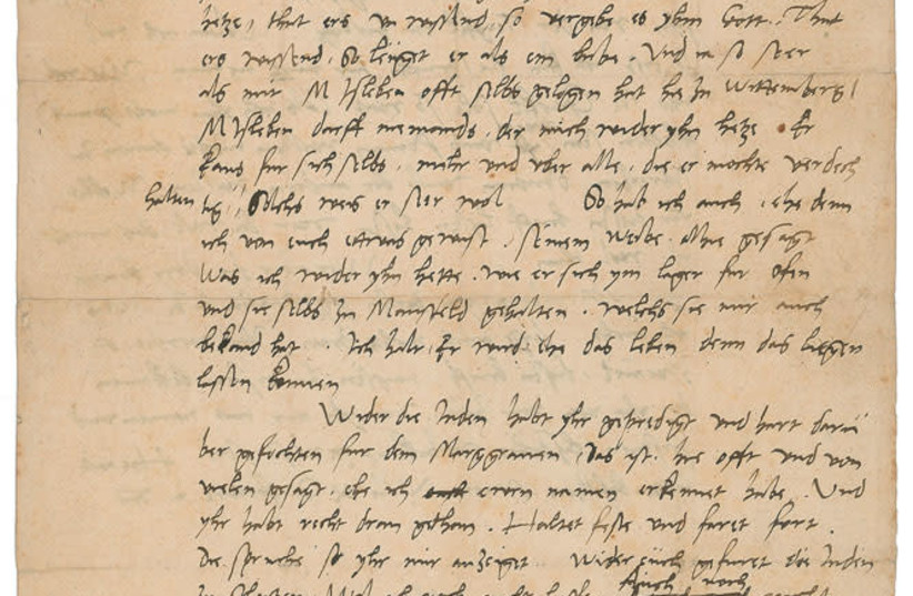 Letter by Martin Luther calling Jews 'devils incarnate'  (photo credit: RR AUCTION)