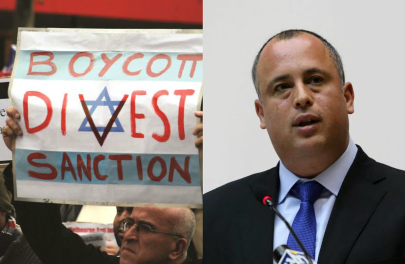 MK Hilik Bar and a pro-BDS protestor (photo credit: MARC ISRAEL SELLEM + WIKIMEDIA COMMONS)