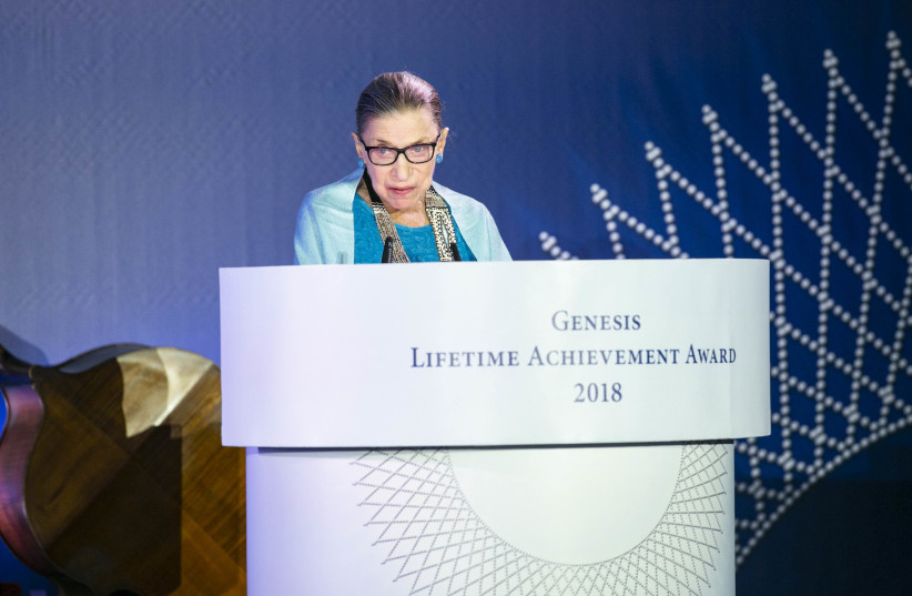 Ruth Bader Ginsburg speaks as she receives The Genesis Prize's Lifetime Achievement award (photo credit: GENESIS PRIZE FOUNDATION)