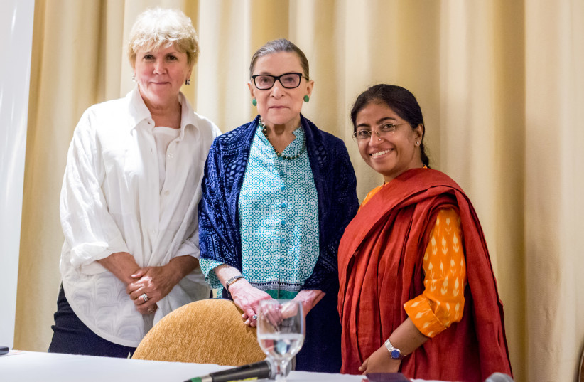 (LEFT TO right) Jane Holl Lute, president and CEO of SICPA North America; US Supreme Court Justice Ruth Bader Ginsburg, recipient of the first Genesis Prize Foundation Lifetime Achievement Award and Sunitha Krishnan, founder and director of Prajwala.  (photo credit: GENESIS PRIZE FOUNDATION)