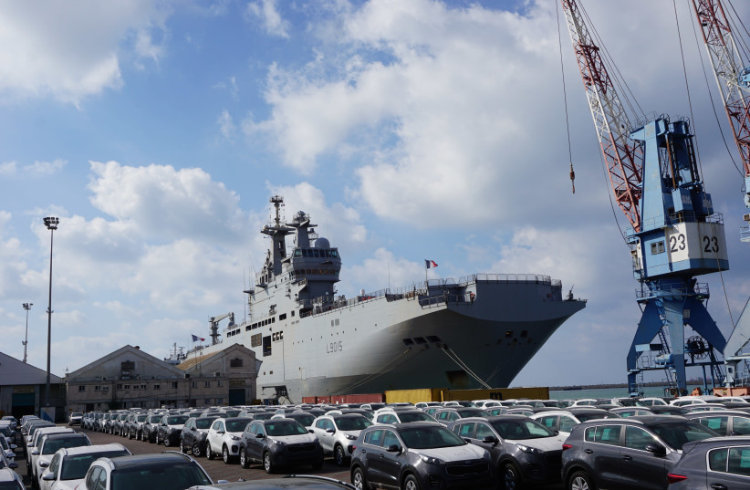 A French warship Dixmude at Haifa port returning from five months at sea in the Far East (photo credit: SETH J. FRANTZMAN)
