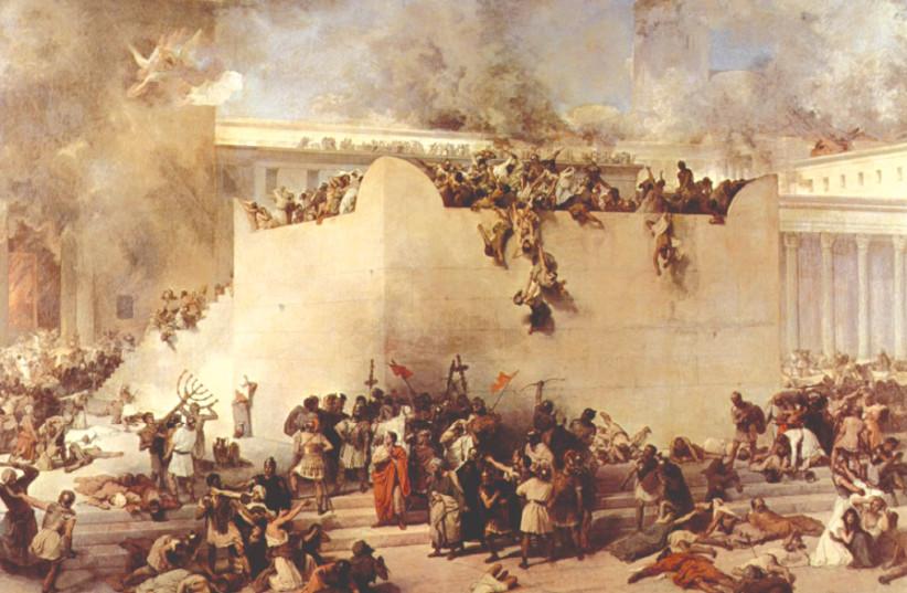 'THE DESTRUCTION of the Temple of Jerusalem,' Francesco Hayez, 1867 (photo credit: Wikimedia Commons)