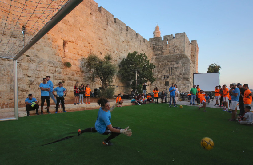 Celebrating the World Cup in the shadow of the Old City's Tower of David (photo credit: MARC ISRAEL SELLEM)