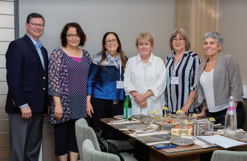 (LEFT TO right) Steven A. Rakitt, president of The Genesis Prize Foundation; Samah Salaime, founder of Arab Women in the Center; Ahuva Yanai, CEO of Matan-United Way Israel; Jane Holl Lute; Ronit Lev Ari, founder of Beit Ruth – Breaking the Cycle of Violence; and Ella Alkalai, chairwoman of the Isra (photo credit: GENESIS PRIZE FOUNDATION)