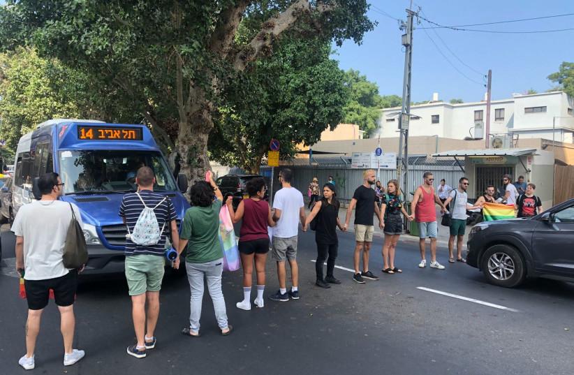 LGBT protesters block Tel Aviv's King George street, July 16, 2018 (photo credit: Courtesy)