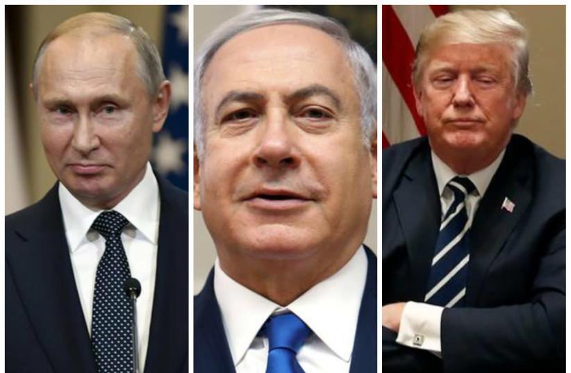 Russian President Vladimir Putin (L), Prime Minister Benjamin Netanyahu (C) and US President Donald Trump (R) (photo credit: REUTERS)