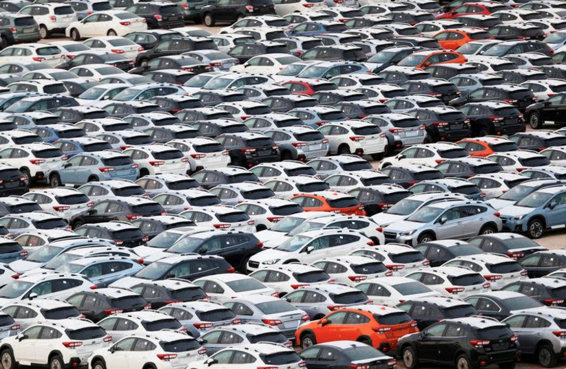 New imported cars are seen in a parking lot near Eilat's port, Israel, June 12, 2018New imported cars are seen in a parking lot near Eilat's port, Israel, June 12, 2018 (photo credit: AMIR COHEN/REUTERS)