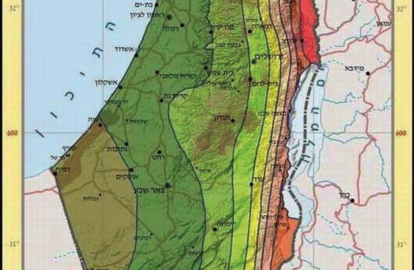 Map of Israeli marks out higher and lower risk areas in face of an earthquake (photo credit: COURTESY OF THE STATE COMPTROLLER'S OFFICE)