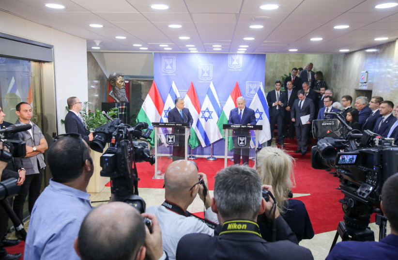 Prime Minister Benjamin Netanyahu meets with Hungary's controversial right-wing, anti-immigrant prime minister, Viktor Orban who is visiting Israel (photo credit: MARC ISRAEL SELLEM)