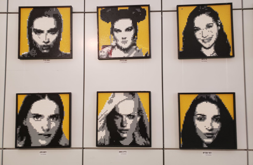 Mosaics of famous Israeli women made out of Lego, on display at the event (photo credit: OREN OPPENHEIM)