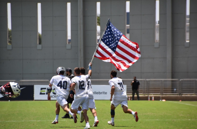 The winning moments after USA secured its title as Men's Lacrosse World champions. (photo credit: DAPHNA KRAUSE)