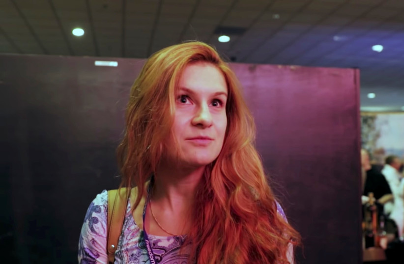 Accused Russian agent Maria Butina speaks to camera at 2015 FreedomFest conference in Las Vegas, Nevada, U.S., July 11, 2015 in this still image taken from a social media video obtained July 19, 2018 (photo credit: FREEDOMFEST/VIA REUTERS)