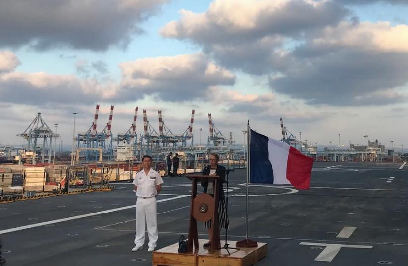 FRENCH AMBASSADOR Hélène Le Gal addresses the crowd on the 'Dixmude' warship (photo credit: SETH J. FRANTZMAN)