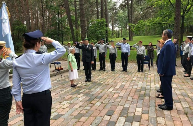 MAHUT delegates at a ceremony in memory of Holocaust victims at Ponar Forest, Lithuania (photo credit: GENESIS PHILANTHROPY GROUP)