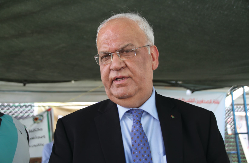 PLO EXECUTIVE COMMITTEE secretary-general Saeb Erekat speaks in Khan al-Ahmar on Thursday.  (photo credit: TOVAH LAZAROFF)