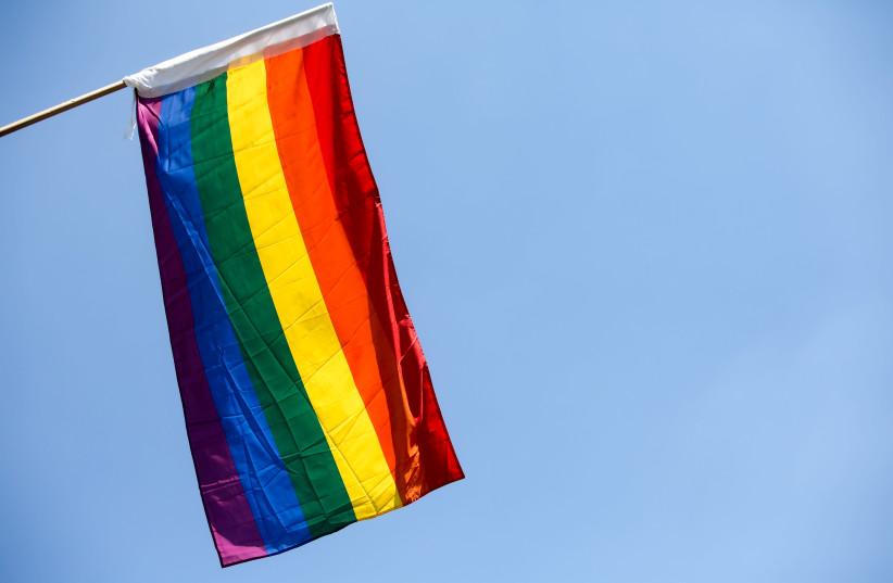 LGBT flag on Jerusalem's King George Street, July 31, 2018 (photo credit: MARC ISRAEL SELLEM)