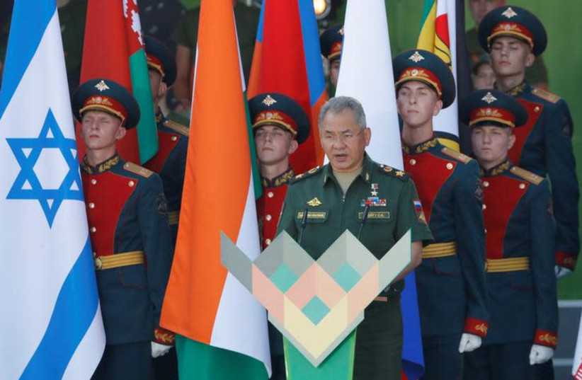 Russian Defense Minister Sergei Shoigu speaks during an opening ceremony of the International Army Games 2018, in Alabino, outside Moscow, Russia, July 28, 2018 (photo credit: REUTERS/SERGEI KARPUKHIN)