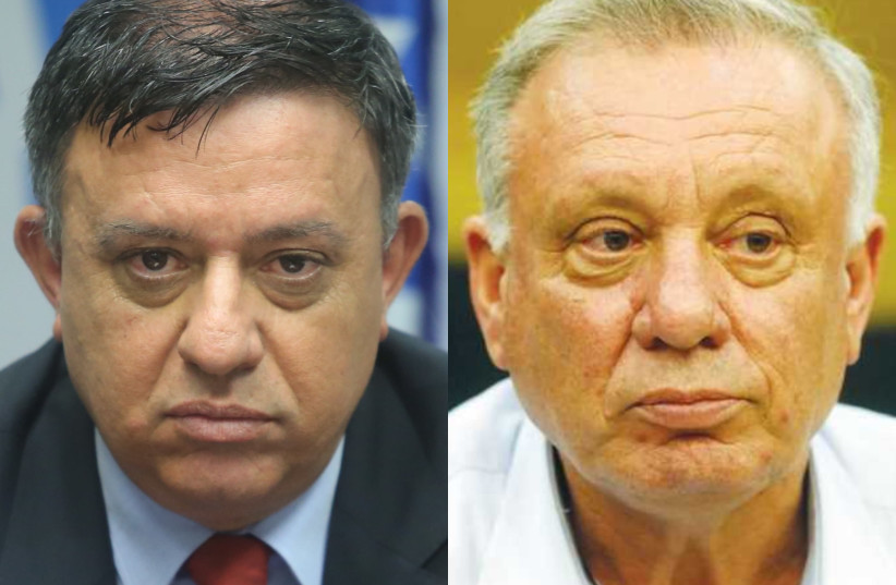 Zionist Union Chairman Avi Gabbay and MK Eitan Broshi (photo credit: MARC ISRAEL SELLEM)