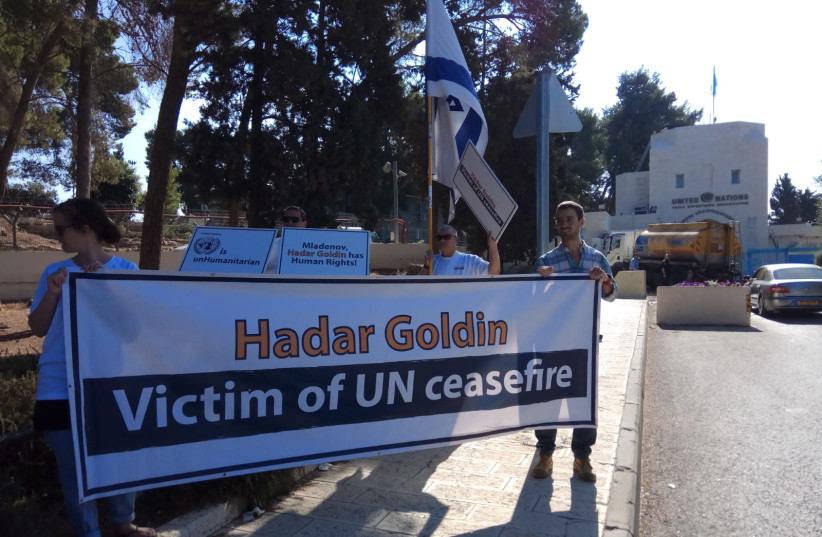 """""""Misdar Hadar"""" and the Goldin family protest the UN's inaction on the return of Hadar Goldin's remains outside of the United Nations complex in Armon Hanetziv in Jerusalem (photo credit: ESTI DESIOVOV/TPS)"""