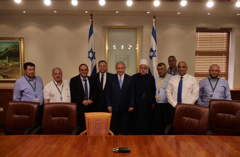 Prime Minister Benjamin Netanyahu and Druze leaders  (photo credit: PRIME MINISTER'S OFFICE)