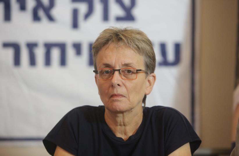 Leah Goldin, mother of missing soldier Hadar Goldin, at a Jerusalem press confrence July 5, 2018 (photo credit: MARC ISRAEL SELLEM/THE JERUSALEM POST)