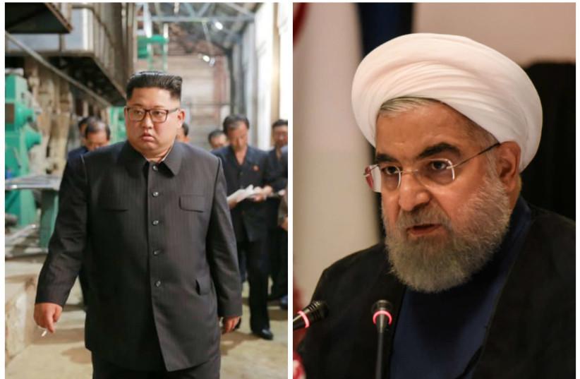 North Korean leader Kim Jong Un (L) and Iranian President Hassan Rouhani (R) (photo credit: REUTERS)