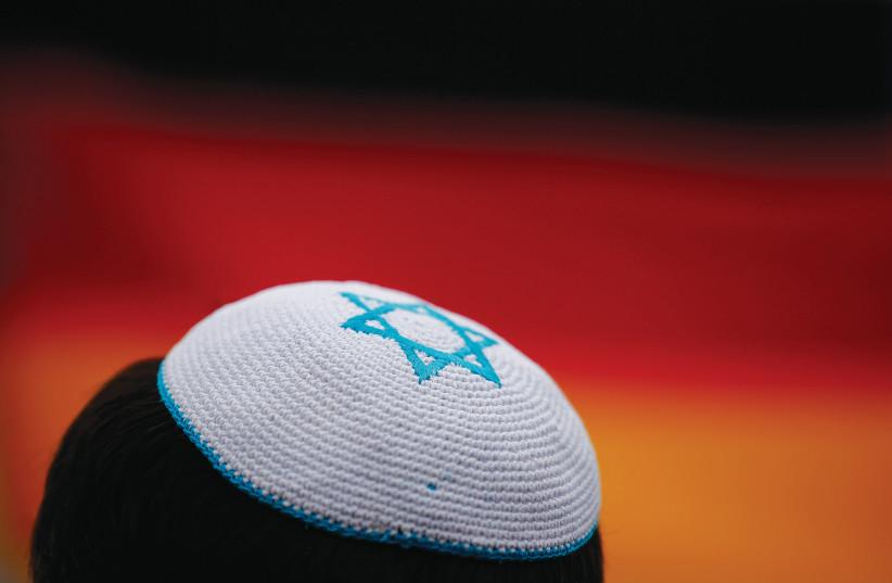 A Star of David on a man's kippa (photo credit: REUTERS)