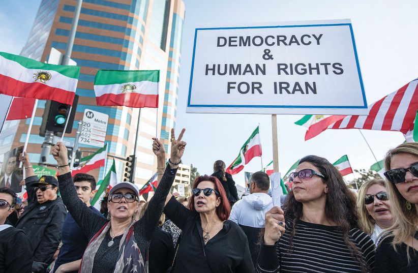 A pro-democracy protest by Iranians in the United States (photo credit: REUTERS)