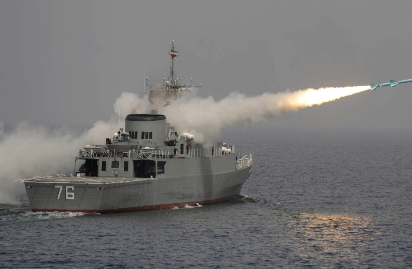 A Nour missile is test fired off Iran's first domestically made destroyer, Jamaran, on the southern shores of Iran in the Persian Gulf March 9, 2010 (photo credit: REUTERS/EBRAHIM NOROOZI/IIPA)