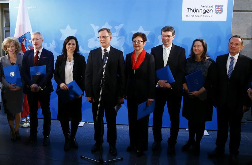 German Left Party, 2014. (photo credit: REUTERS/KAI PFAFFENBACH)