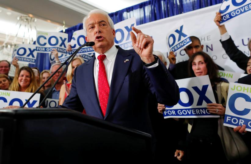 Republican candidate John Cox speaks at headquarters, San Diego, California, 2018.  (photo credit: REUTERS/MIKE BLAKE)