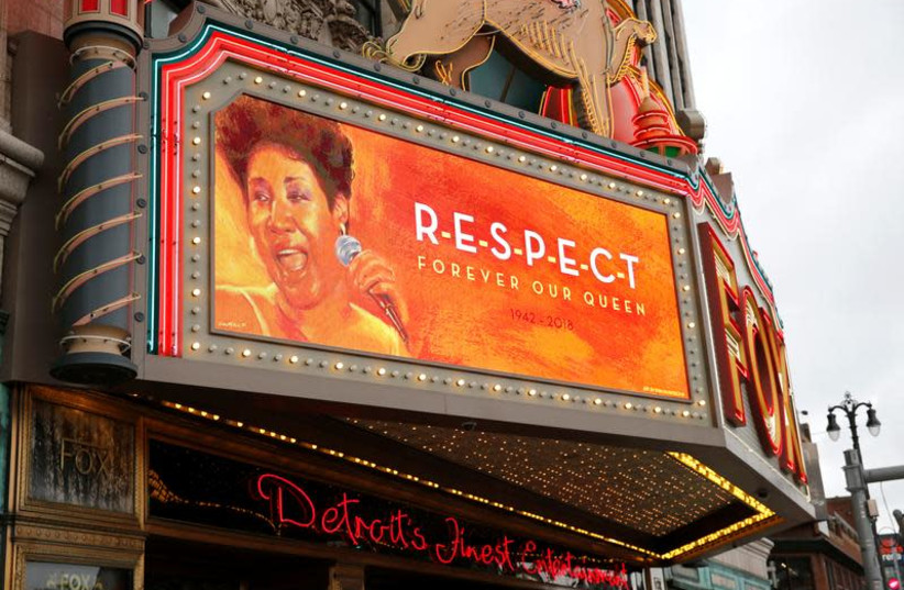 """The marquee on the Fox Theater shows the word """"Respect' in memory of singer Aretha Franklin in downtown Detroit, Michigan, U.S. August 16, 2018 (photo credit: REUTERS/REBECCA COOK)"""