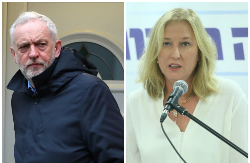 Jeremy Corbyn (L) and Tzipi Livni (R) (photo credit: REUTERS/MARC ISRAEL SELLEM)