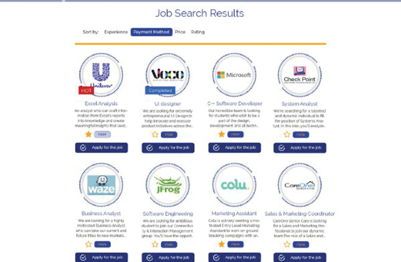 A SCREENSHOT from a theoretical job search on bitJob, with the companies pictured serving as placeholders (August 22, 2018). (photo credit: BITJOB)