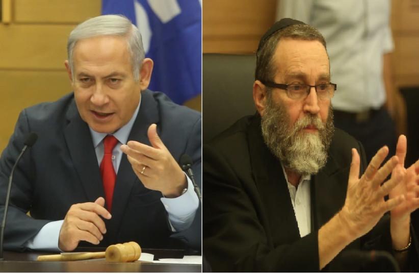 Benjamin Netanyahu and MK Moshe Gafni (photo credit: MARC ISRAEL SELLEM/THE JERUSALEM POST)