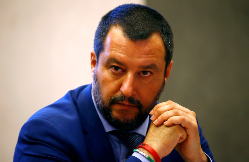 Italy's Interior Minister Matteo Salvini looks on during a news conference in Rome, Italy, on June 20, 2018.  (photo credit: STEFANO RELLANDINI/REUTERS)