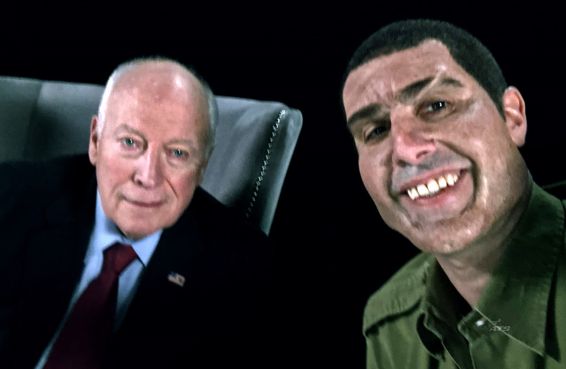 SACHA BARON COHEN'S 'Erran Morad' and former vice president Dick Cheney (August 27, 2018).  (photo credit: SHOWTIME)