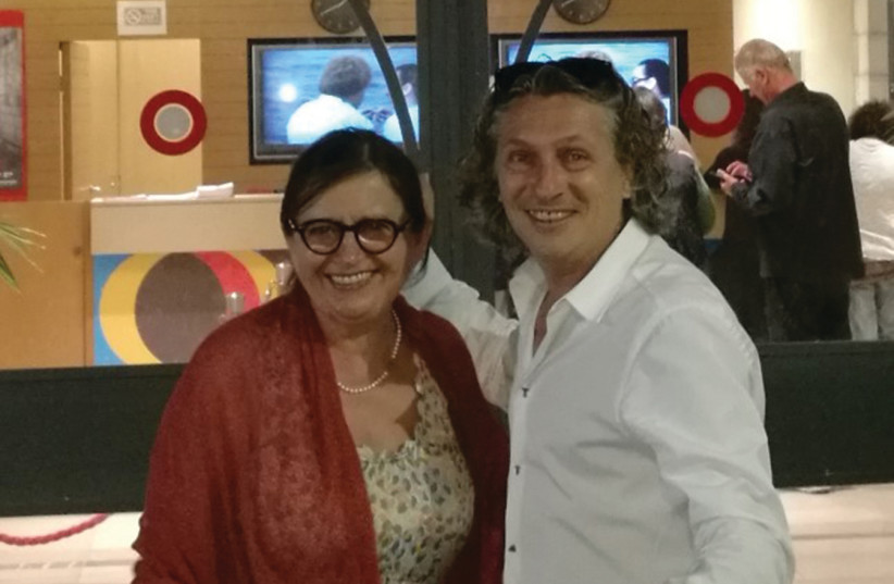 Actress Zuzana Kronerova and Robert Mikolas, director of the Czech Center Tel Aviv, at the entrance of the Jerusalem Cinemateque (photo credit: KATHARINA KRAICHOVICH)
