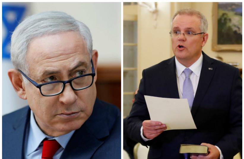Benjamin Netanyahu (left) and Scott Morrison (right)  (photo credit: ABIR SULTAN/POOL/REUTERS AND DAVID GRAY/REUTERS)