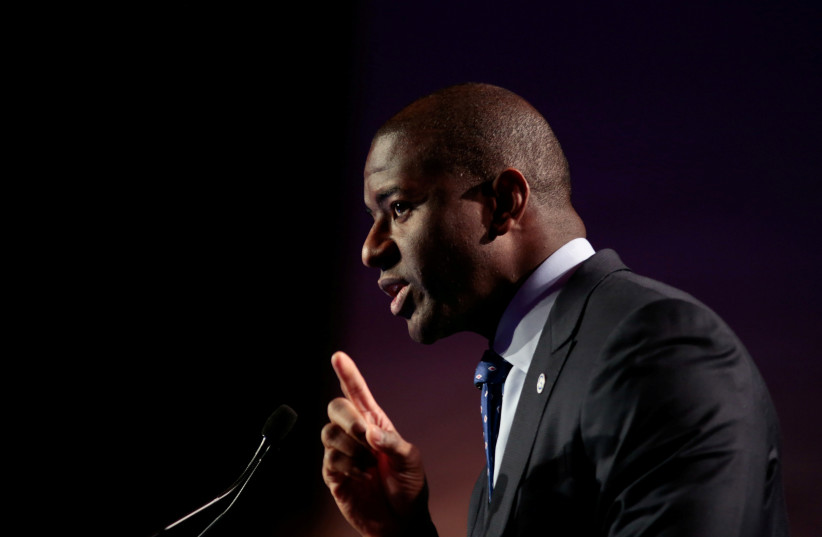Tallahassee, Florida Mayor, Andrew D. Gillum addresses the audience at the Netroots Nation annual conference for political progressives in Atlanta, Georgia, U.S. (August 10, 2017).  (photo credit: REUTERS/CHRIS ALUKA BERRY)