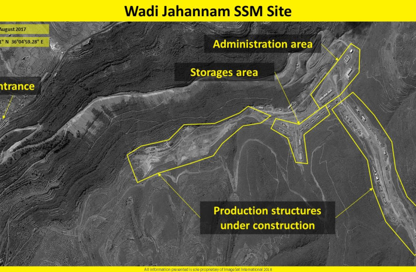 Satellite image showing the development and production of surface-to-surface missiles (SSM) in the area of Wadi Jahannam  (photo credit: IMAGESAT INTERNATIONAL (ISI))