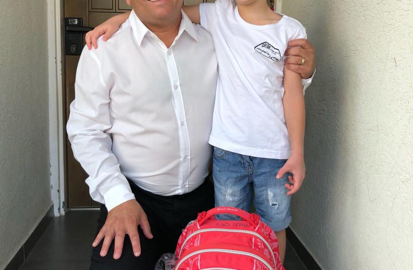 Zionist Union MK Eitan Cabel takes his daughter Shira to school in Rosh Ha'ayin (photo credit: Courtesy)