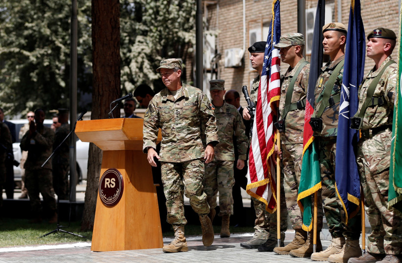 U.S. Army General Scott Miller walks during a change of command ceremony in Resolute Support headquarters in Kabul, Afghanistan September 2, 2018 (photo credit: REUTERS/MOHAMMAD ISMAIL)