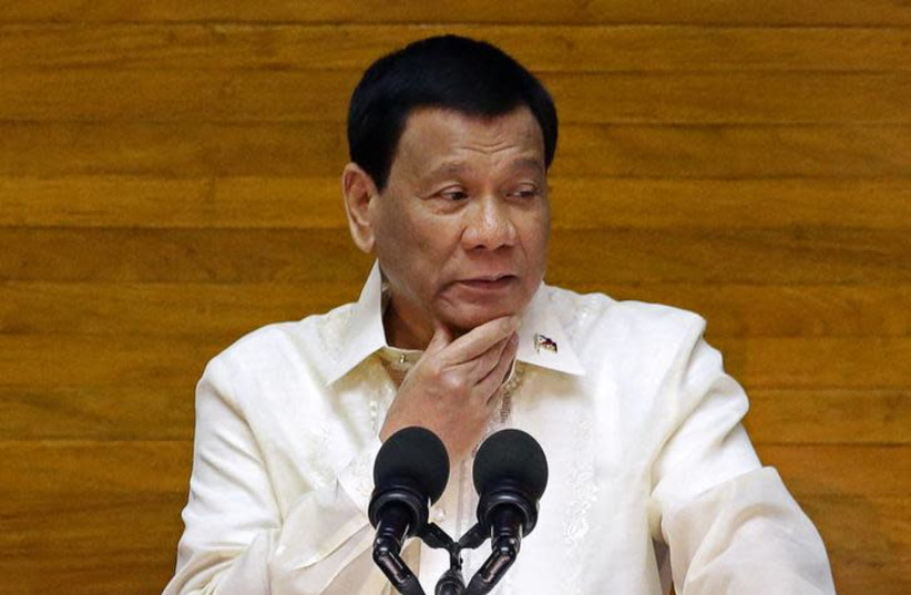 Philippine President Rodrigo Duterte delivers his State of the Nation address at the House of Representatives in Quezon city, Metro Manila, Philippines July 23, 2018 (photo credit: REUTERS/CZAR DANCEL)