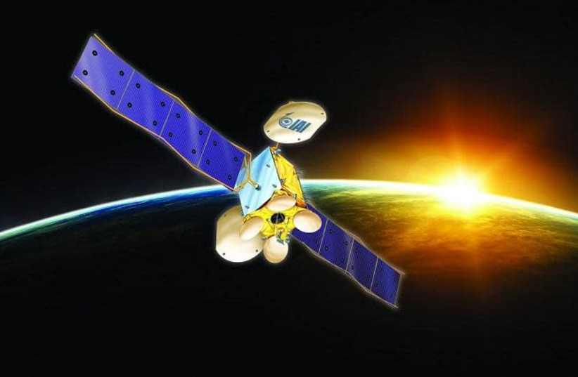 A possible design for the new Amos-8 communications satellite (photo credit: ISRAEL AEROSPACE INDUSTRIES)