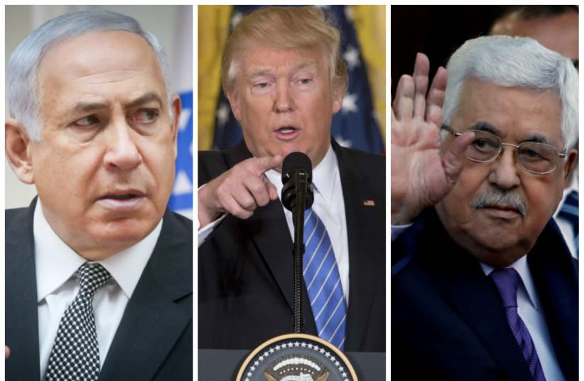Benjamin Netanyahu (L), Donald Trump (C) and Mahmoud Abbas (R) (photo credit: REUTERS)