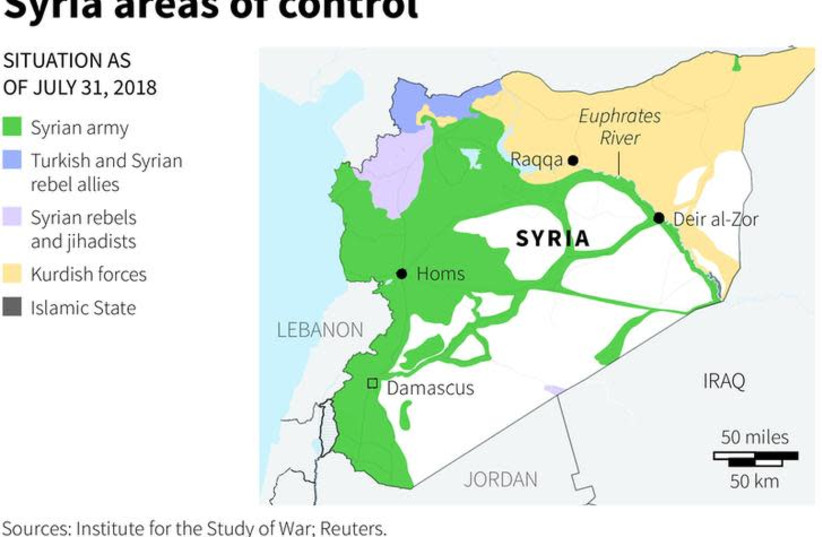 Syria areas of control - map (photo credit: REUTERS)