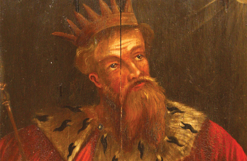 KING HEZEKIAH in a 17th century painting by unknown artist, in the choir of Sankta Maria Kyrka in Ahus, Sweden. (photo credit: Wikimedia Commons)